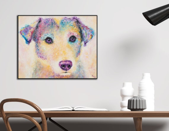 Jack Russel Terrier Dog Art Print on Wood