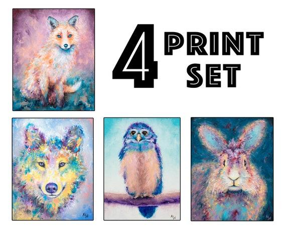 "Set of 4 Woodland Animal Art Prints - 8x10"" size"
