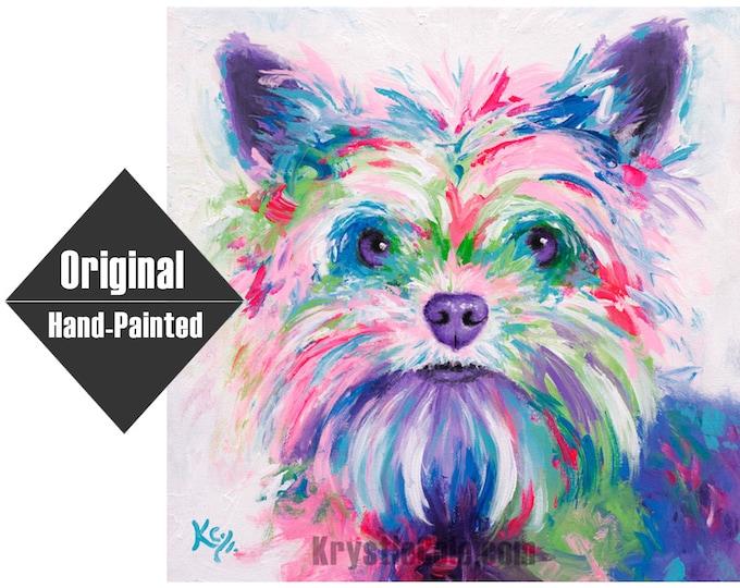 "Yorkie Painting - Daisy - 16x16"""