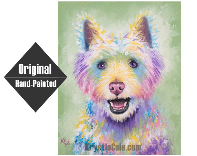 "Westie / West Highland Terrier Dog Painting - 16x20"""