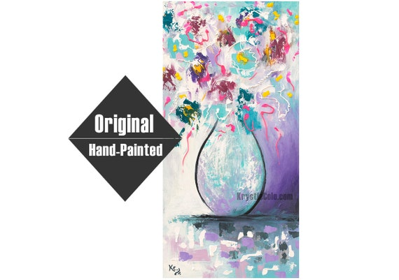 Abstract Flowers in Vase Painting - 12x24""