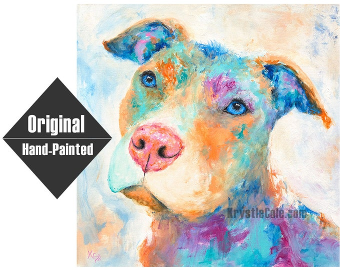 """Pit Bull Painting - 24x24"""""""