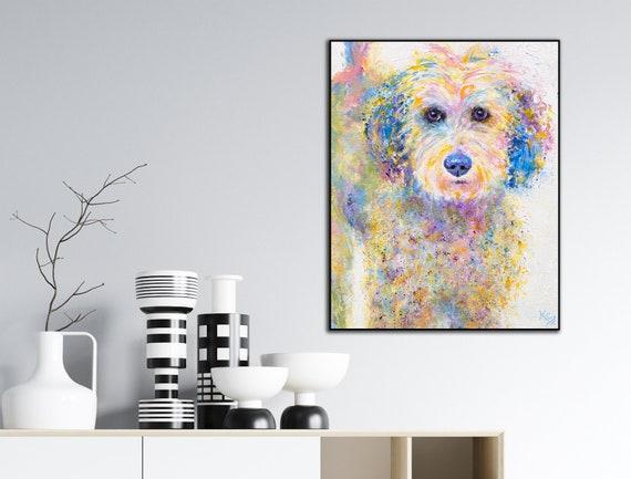 Goldendoodle Dog Art Print on Wood - Oliver