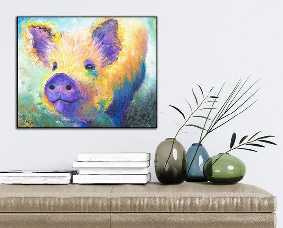 Pig Art Print on Wood - Rainbow's Aren't For Dinner