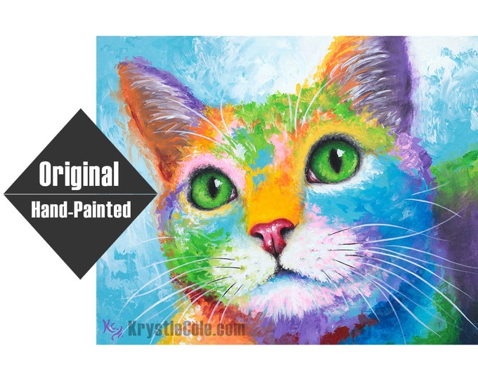 """Kitty with Green Eyes Painting - 16x20"""""""