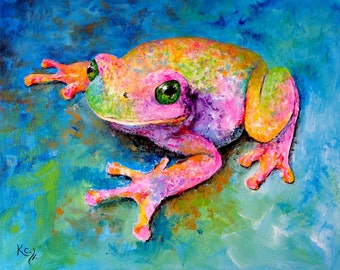 "Frog Print - Tree Frog Art, Frog Gift, Amphibian Art, Frog Wall Art, Frogs. Print of Frog Painting ""Dream Frog""."