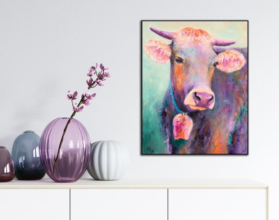 Cow Art Print on Wood - Purple Cow with Bell