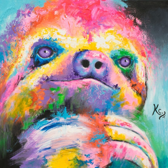 Psychedelic Sloth Painting
