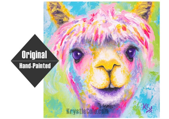 Rainbow Alpaca Painting