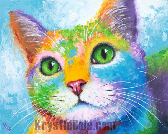 Kitty with Green Eyes Painting