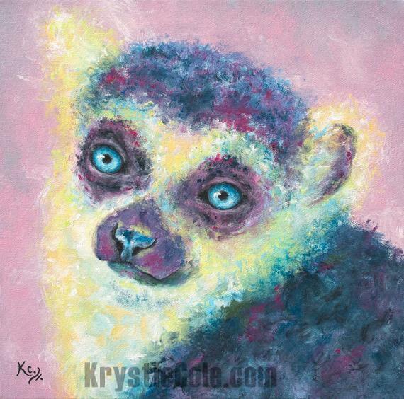 Rose Lemur Painting