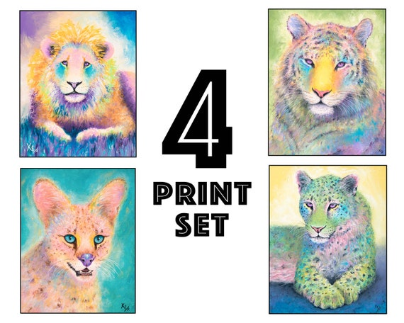"Set of 4 Big Cat Art Prints - 8x10"" size"