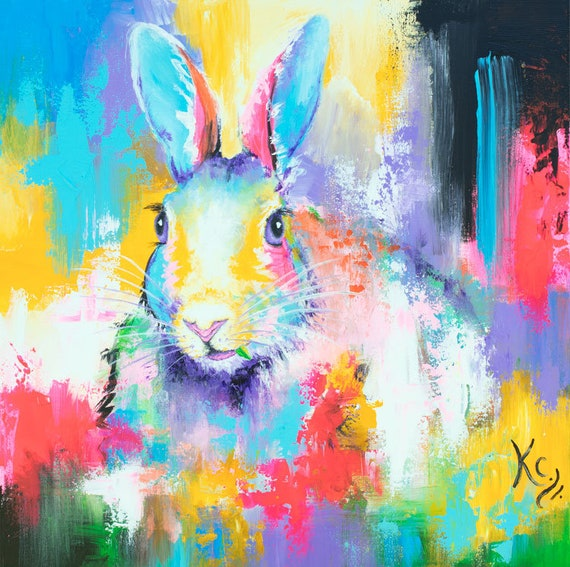 Rabbit Among the Flowers Painting