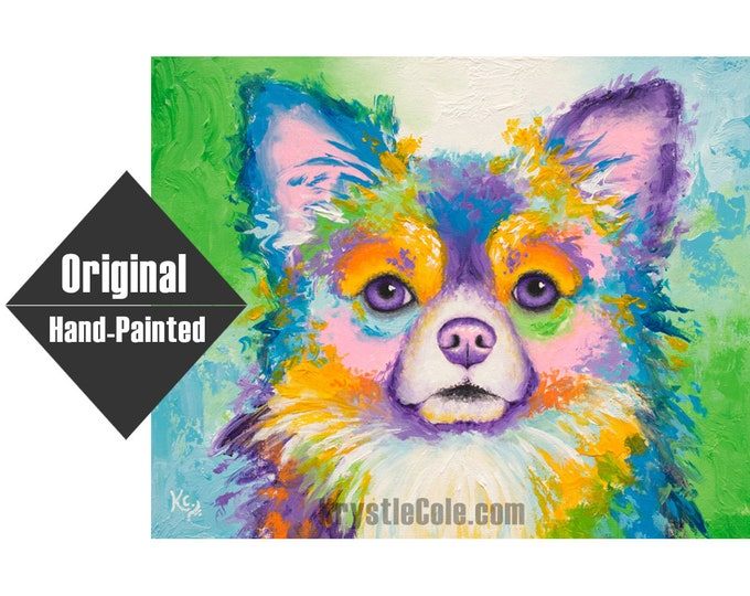 """Long-Haired Chihuahua Dog Painting - 16x20"""""""