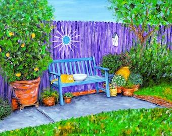 Cat Sitting on Bench in Backyard Landscape Art Print
