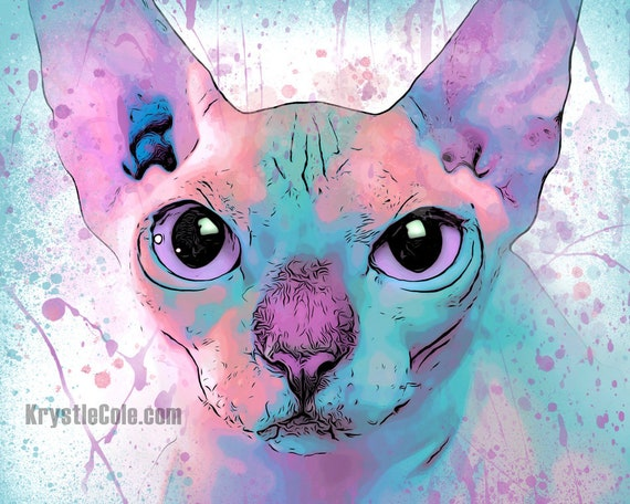 Hairless Sphynx Cat Print