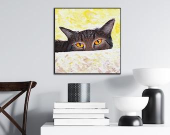 Cat Art Print on Wood - Watching You