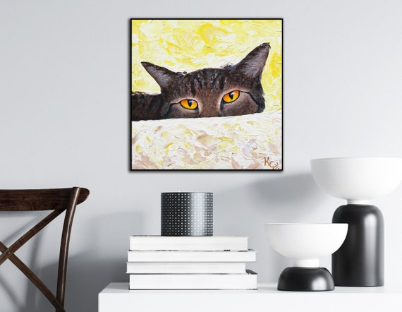 Cat Art Print on Wood - Watching You
