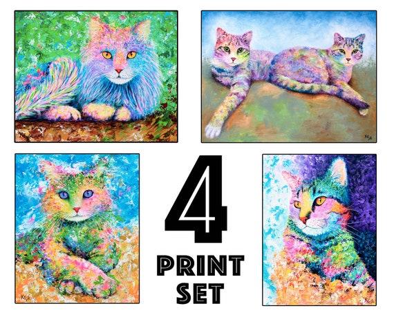"Set of 4 Cat Art Prints - 8x10"" size"
