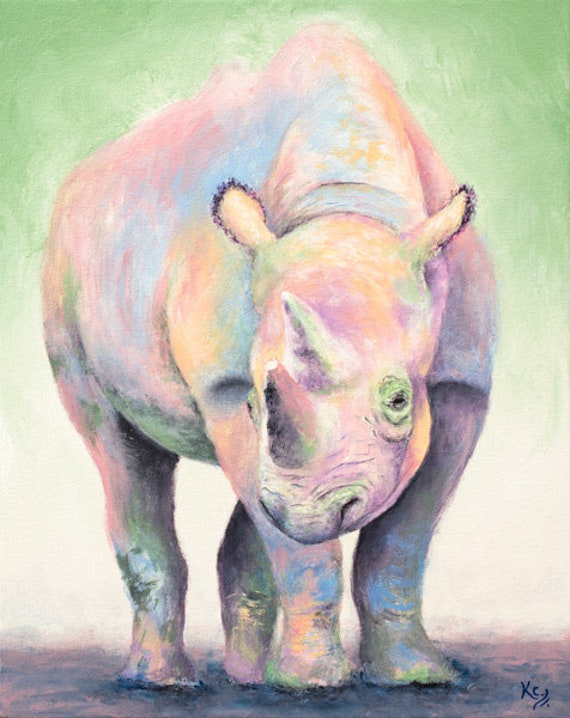 Rainbow Rhino Painting