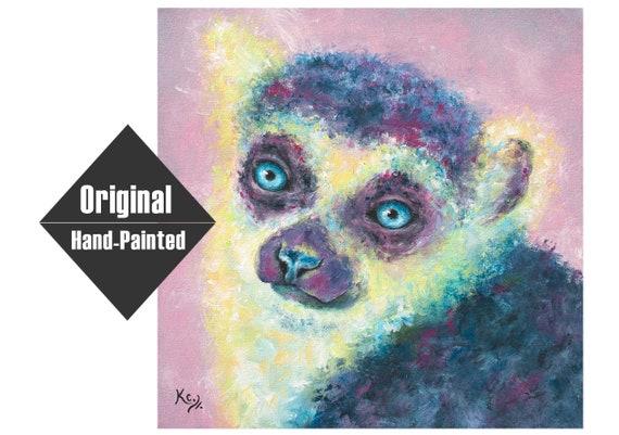 "Rose Lemur Painting - 16x16"""