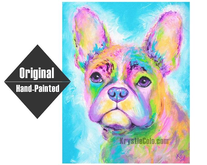 "Rainbow Frenchie Painting - 16x20"""