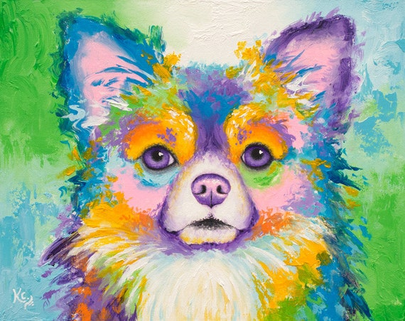 Long-Haired Chihuahua Dog Painting