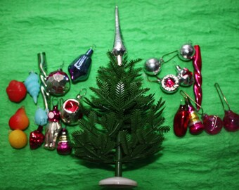 Set of Little Christmas tree with 17 glass + 5 plastic ornaments, USSR vintage green plastic, Christmas tree, USSR vintage, Christmas