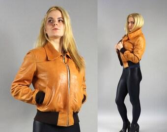 Warm insulated 80s Orange Leather Moto Women Bomber Jacket, Boho Chic Messenger Aviator Genuine Leather Jacket, Rocker Motorcycle Coat, Sz S