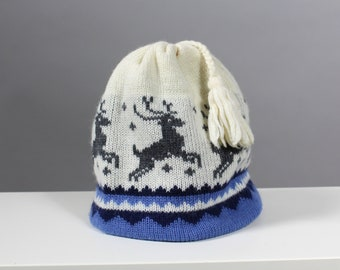 80s Reindeer Wool Winter Cap with Fringe 352d69b5a203