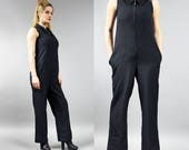 90s Black Jumpsuit . Sleeveless Mod Plaisuit . Vintage Palazzo Pants Onesie . Minimalist Women 39 s Overalls Urban Black Dungarees Romper . S M