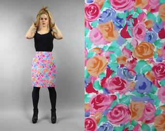 8a8ef8ba63 Vintage Rose Print Denim Boho Pencil Skirt. 90s Floral Midi Pastel Blue  Pink Jeans Skirt. Straight Cotton Summer Wiggle Mod Bohemian Skirt S