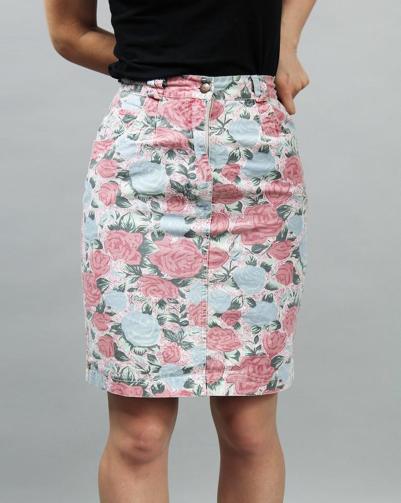 8389df62d6 Vintage Rose Print Denim Boho Pencil Skirt. 90s Floral Midi | Etsy