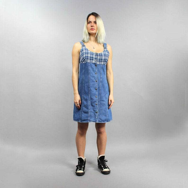 d23ce1ad470 90s Denim Bib Overalls Dress Vintage Mini Boho Denim Shirt