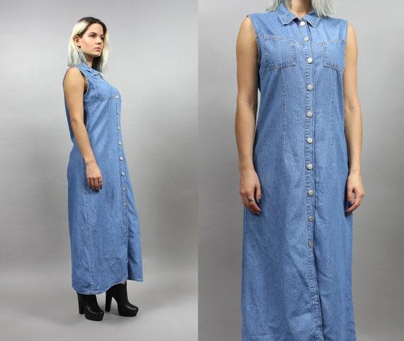 90s Denim Maxi Shirt Dress Grunge Jean Buttoned Boho Robe   Etsy