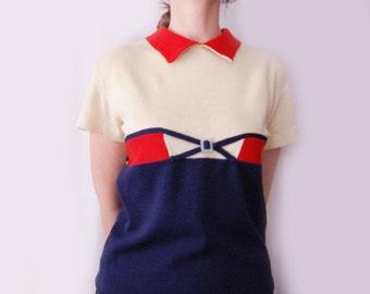 Vintage blue woolen short sleeved blouse - wollen blouse - vintage warm blouse - vinatge blue blouse - red blouse - soviet - soviet blouse -