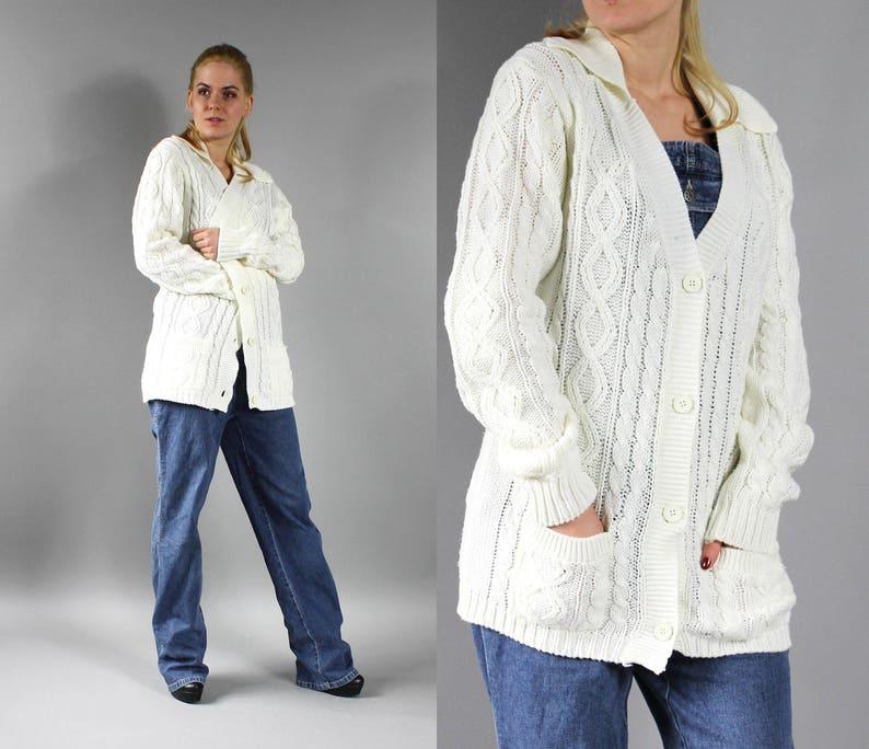 48f6476c23f912 90er Jahre weiße Strickjacke. Vintage lange Boho Pullover.   Etsy