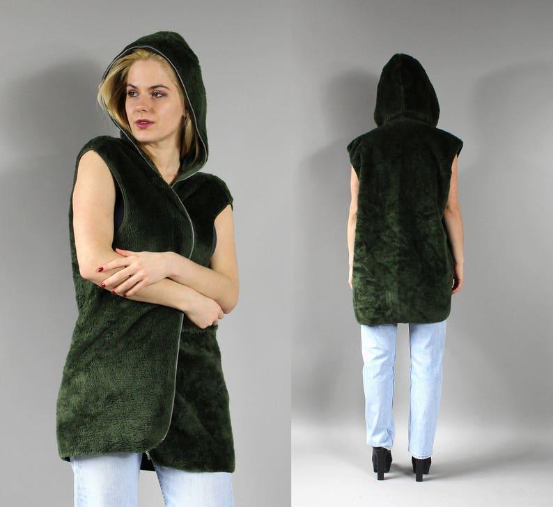 Vintage Urban Moss Green Jacket Avant Garde Cropped Sleeveless Warm Blazer top Sz L 90s Fluffy Faux Fur Hooded Waistcoat Long Hoodie Vest
