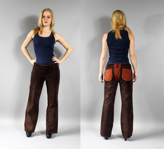 Brown Orange Western Suede Pants, 70s Cowgirl Stra