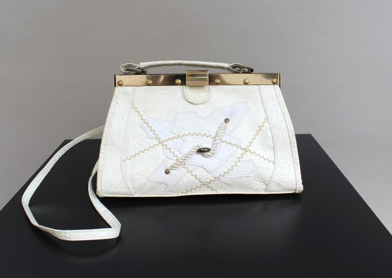 80s White Patchwork Doctor Bag, Faux Vegan Leather