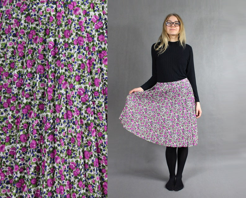 b41aec84a9dbe 90s Pleated Floral print Midi Skirt, Vintage Pink Green Skirt, Summer  Flared Boho Skirt, Workout Casual Ruffle Flower pattern Skirt, Size L