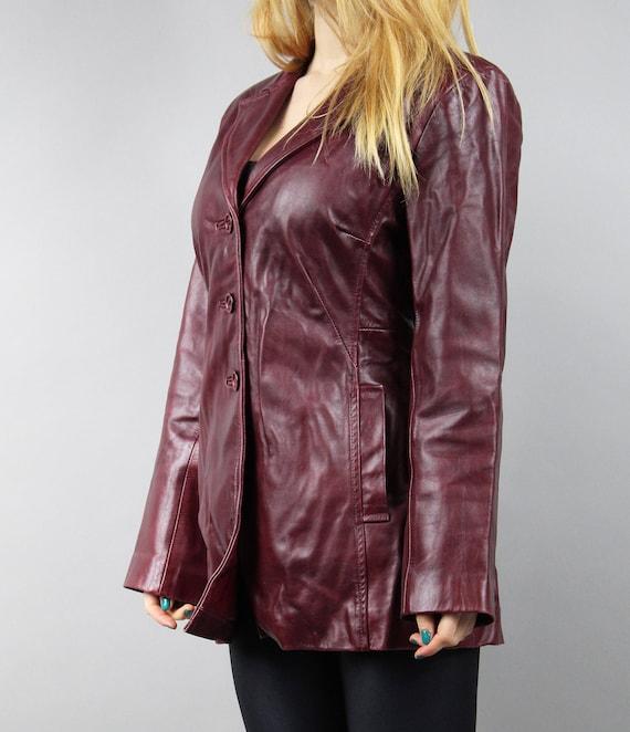 Bohemian Hipster Breasted Burgundy Jacket Red Rain 70s Mod Boho Leather Clared Jacket Coat L Single Midi Trench Leather Vintage Coat ngazp
