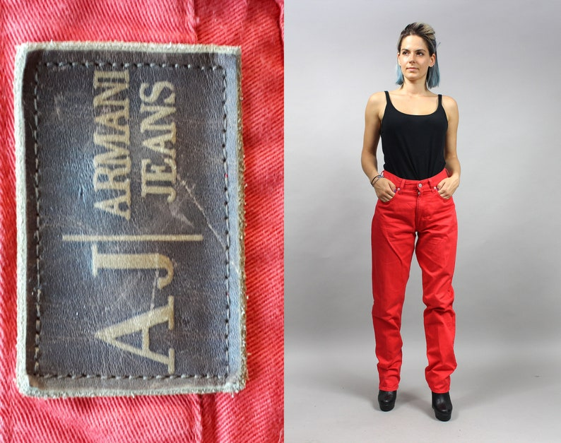 e9bec3bd ARMANI Red Vintage Moms Jeans High Rise Straight Leg Denim | Etsy
