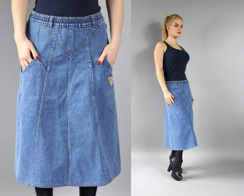 c191865ccb8 80s Blue Denim A line Skirt Patchwork Midi Jean skirt Pencil