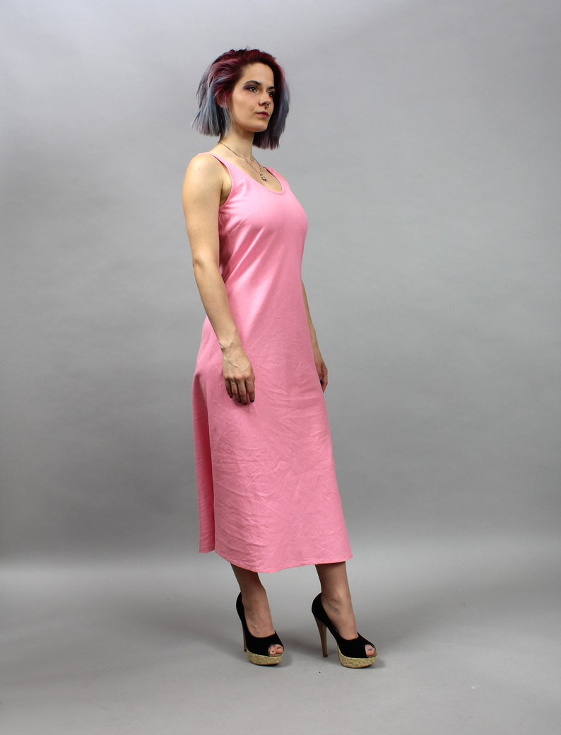 8819664a31aa8 Vintage Pink Maxi Linen Summer Dress. Sleeveless Wiggle Dress. | Etsy