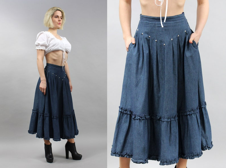 30094a73112 Maxi Boho Jeans Skirt . 90s Country Western... Vintage Dark Wash Blue Denim  Skirt . Maxi Boho Jeans Skirt . 90s Country Western Skirt Long Casual  Bohemian ...