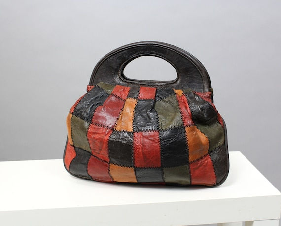 80s Leather Patchwork Multicolor Hand Bag