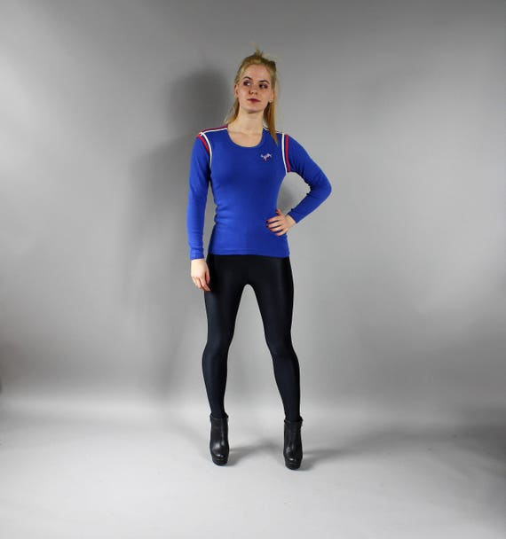 80s Blue Fitted Baseball Gym Top Vintage Unisex Active Wear