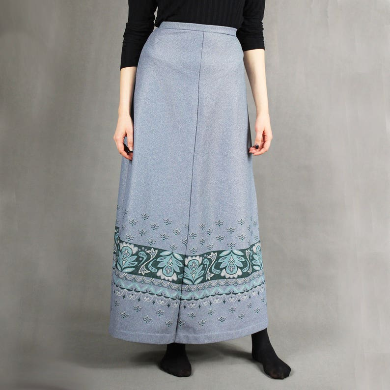 70s Vintage Gray Metallic Maxi Skirt Flared A-line Floor Length Boho Hippie Skirt Size M Floral Print Full Length Long High Waist Skirt
