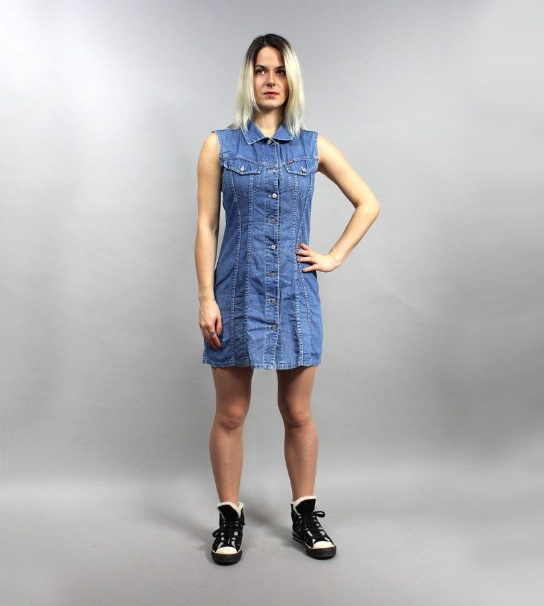 e62d199f36 90s Denim Mini Rocker Dress Vintage Jean Jumper Button Up